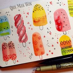 Decorative ice lollies - and a quick  chat on scope 25/365 #artdaily2016 #sketchaday2016 #watercolors #persuepretty #makersgonnamake #getcreative #creativeminds #creativityfound #calledtobecreative #persuepretty #brendamanleydesigns #myfavoritedesigns #surtex #printandpattern #surfacepattern #abmlifeiscolorful #dscolor #flashesofdelight #liveauthentic #foodillustration #theydrawandcook #thatsdarling #popsicles #icelollies by ohn_mar_win