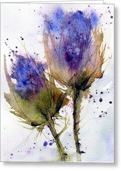 Blue Thistle Greeting Card by Anne Duke