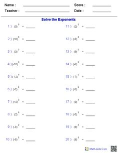 Worksheet Free Exponents Worksheets worksheets and tables on pinterest integers with exponent create free worksheets