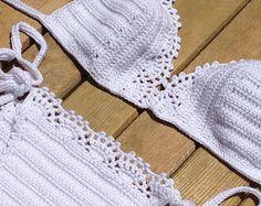white lace bikini set - bikini bottom -bikini top - tie bikini - swimsuit women crochet bikini beachwear summerwear senoaccessory