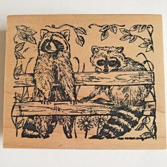 Northwoods Raccoon Pair Rubber Stamp Sitting on Fence Wood Mounted  #Northwoods