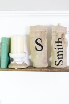 LOVE, burlap ♥ Perfect way to dress up any wine, champage, or liquor bottle!  3 Color Options Available! Natural, White, Ivory- Not Shown is Ivory Burlap.   Monogram option available! Can be any color and any text!   Photography by Amanda Watson Photography  ♥ https://www.etsy.com/shop/loveburlap