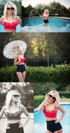 creative concept, swim, suit, styled shoot, vintage, umbrella, senior girl, pool, senior shoot, photo jewels rockwall