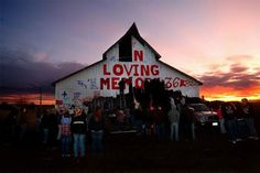 well, this barn in a field south of Stanwood has for years been used as a memorial to town teens taken too early.  Mostly car accidents and other tragedies.  It is a place for the young adults to come together and say goodbye to a friend or classmate.