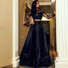 Abiti da Cerimonia da Sera Formal Black Long Sleeve Evening Gowns Arabic 2 Piece Prom Dresses Lace Satin Cheap Robe de Soiree