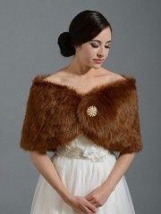 Brown bridal faux fur wrap stole shawl FW005_Brown