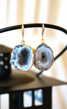 Shimmering Aurora Agate Geode Earrings Agate Druzy by VintagePinch, $67.99 #etsy #loveit #new #druzy #bridal #springtrends #fblogger #fashionblogger #blogger #momblogger #musthave #mystyle