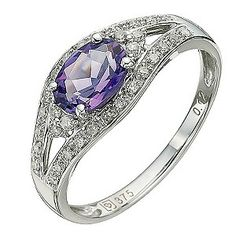9ct White Gold Amethyst & Diamond Ring - Product number 8671141