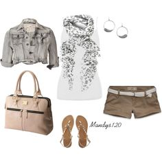 Casual thoughts for the beach and warmer days. Bright white top, grey patterned scarf, neutrals + earthy tans that offset a lighter shade of grey.