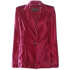 Tom Ford Velvet Blazer (€2.765) ❤ liked on Polyvore featuring outerwear, jackets, blazers, blazer, purple, red blazer jacket, red velvet jacket, purple velvet jacket, tom ford blazer and blazer jacket