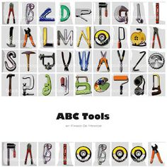 ABC Tools Typography Images, Typography Letters, Alphabet Charts, Alphabet Fonts, Alphabet Letters, High School Art Projects, Lettering Styles, Graphic Design Projects, Trees To Plant