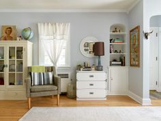 Before and After: My Living Room Reveal — Michelle Gage Campaign Dresser, Cleaning Cabinets, Love Your Home, Interior Design Companies, Blue Walls, White Cabinets, Living Spaces, Living Rooms, Interior Decorating