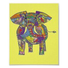 Rainbow Elephant print, also on tshirts, cards, buttons, magnets, mugsand more. www.zazzle.com/artistjandavies*