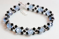 Blue and black crystal bracelet by AGoodBead on Etsy, $15.00