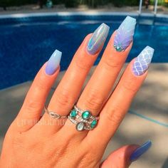 Blue Mermaid Nail Art bluenails mermaidnails ❤ Ombre nails are versatile and fun, so even a novice can pull off an ombre look. In case you do not seek easy ways, we have something for you, too! Prom Nails, Wedding Nails, My Nails, Mermaid Nail Art, Little Mermaid Nails, Cute Acrylic Nails, Acrylic Nail Designs Glitter, Birthday Nails, Nagel Gel