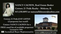 W/E 10-15-16 JUST LISTED at #Century21Pride. Call/Text Nancy Cagwin, Century 21 Pride Realty 815-258-8893. Search the Chicagoland MLS: www.soldbynancyc21.com