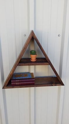 Wood Triangle Shelf Rustic Wood Floating by SucculentWoodShop