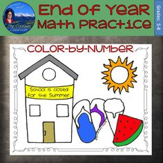 A fun and lively end of school scene is a color-by-number math practice sheet for your students to complete. Each sheet includes a black line master with 20 problems. As the problems are solved, those answers then tell the students how to color the picture according to the directions on the page. Unbeknownst to the students, all the pages work out to the same answer key to make it easier for you to grade.