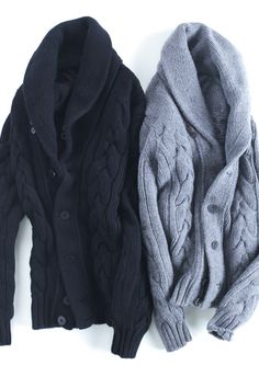 Navy & Powder Blue Cardigans, Men's Fall Winter Fashion.
