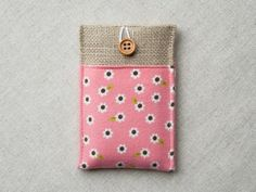 Fabric iphone cover, iphone case, iphone sleeve, iphone pouch, burlap gadget case, smartphone cover case - floral pink, button closure. £8.00, via Etsy.