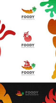 I like the idea behind this logo - bright, white and colorful.  Foody Restaurants logo design by Ahmed Elzahra , via Behance