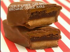 Triple layer caramel brownie cookie bars