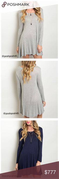 ✨COMING SOON✨NAVY OR GREY TUNIC DRESS ❗️ like to be notified ❗️Long sleeve dress with round neckline and lightweight material.  Can also be worn with some leggings.   ✨Sizes-S-M-L✨ ✨Material-100% rayon✨ ✨Shipping-1 Business day Monday through Friday✨ Lee's boutique Dresses Asymmetrical
