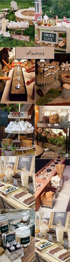 Rustic S'mores wedding dessert food bar for wedding reception / http://www.deerpearlflowers.com/wedding-catering-trends-dessert-bar-ideas/