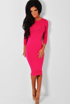 Turn heads on a glam night out, with this super hot pink midi dress! Made from stretch jersey fabric, it features sleeves and looks amaze combined with heels and accessories. Brand Me, Night Out, Hot Pink, High Neck Dress, Boutique, My Style, Fabric, Sleeves, Wedding
