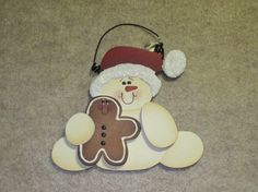 Christmas Ornament Snowman Gingerbread Cookie hand by KCCrafts4U, $10.00