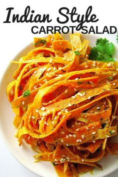 Quick and easy carrot salad topped with coriander, sesame seeds and a creamy dressing made of tahini, ginger, curry and cumin powder. #veganprogram #veganrecipes #vegansalad #healthysaladrecipe #vegan #cleaneating