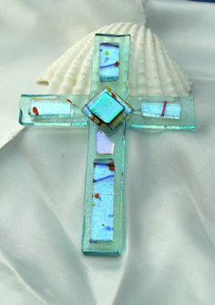 Aqua Fused Glass Cross Mosaic Cross Ornament by hbjewelrydesign, $18.00 Fused Glass Ornaments, Fused Glass Jewelry, Fused Glass Art, Glass Christmas Ornaments, Stained Glass, Glass Earrings, Slumped Glass, Dichroic Glass, Glass Ceramic