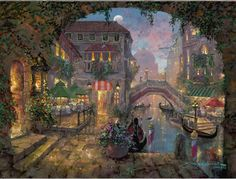 "Thomas Kinkade Colors of Venice | ... Limited Edition SN Embellished Giclee on Canvas:""Venice Twilight"