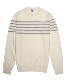 Eleventy Cream Grey Stripe Knit Sweater Crew neckline Long sleeves Ribbed neck, hemline, and cuffs 100% cashmere Made in Italy