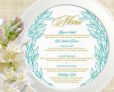 Printable Wedding Menu Card, Wedding Menu Template, DIY Wedding Menu, Social Event Menu Card, Corporate Event Menu Card - Laurel Wreath