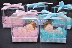 Baby Shower Party Favour Boxes X10 Pram Blue Pink Cute Boy Girl Christening