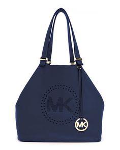 MICHAEL Michael Kors Perforated-Logo Pebbled Leather Grab Bag - Neiman Marcus