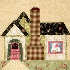 Sweet house quilt block: