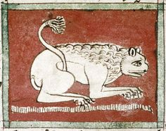 FCBTC / Medieval Bestiary : Lion Gallery. Bodleian Library, MS. Douce 88, Folio 5v  The lion sleeps with its eyes open.