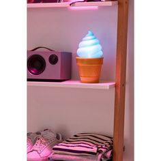 Ice Cream Table Lamp (€15) ❤ liked on Polyvore featuring home, lighting, table lamps, battery powered lamps, plastic lamp, battery operated lights, ice cream lamp and battery powered reading light