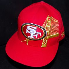 San Francisco 49ers Forty Niners New Era 59Fifty Red Golden Gate NFL Hat 7-3/8 | eBay