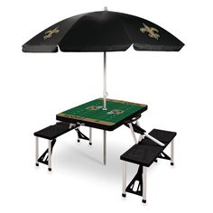 The New Orleans Saints Portable Picnic Table with optional umbrella and built in seating for four!