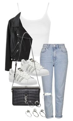 """Untitled #1471"" by tyra482 ❤ liked on Polyvore featuring Topshop, Acne Studios, adidas, Yves Saint Laurent and ASOS"