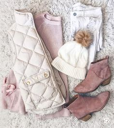 My favorite color is blush can you tell? 🤗 My sweater beanie and booties are currently off and my vest is off! Cute Winter Outfits, Winter Fashion Outfits, Autumn Winter Fashion, Winter Clothes, Mom Outfits, Trendy Outfits, Cute Outfits, Vest Outfits, Pijamas Women