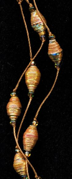 Metallic Copper Gold and Silver Paper Bead by FeithHodgeCreations
