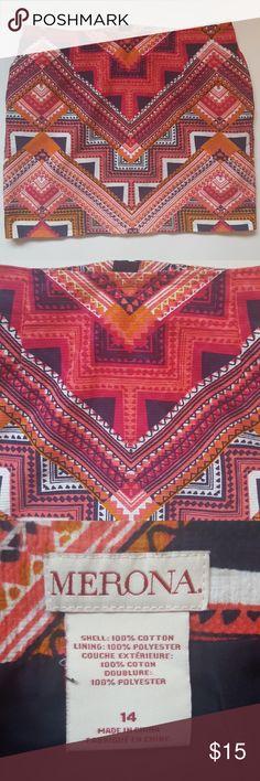 """tribal print skirt Adorable tribal print skirt.   Waist: 17"""" Length:17"""" Excellent used condition. Smoke free home.  Save 10% on bundles! Merona Skirts"""