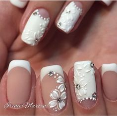 There are nail designs that include only one color, and some that are a combo of several. Some nail designs can be plain and others can represent some interesting pattern. Also, nail designs can differ from the type of nail… Read more › Cool Nail Designs, Acrylic Nail Designs, Acrylic Nails, Cute Nails, Pretty Nails, French Nail Art, White French Nails, White Nail, Bride Nails