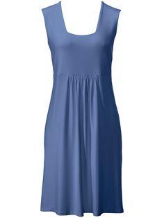 Leichtes Sommerkleid Karree-Ausschnitt Peter Hahn blau Größe: 38