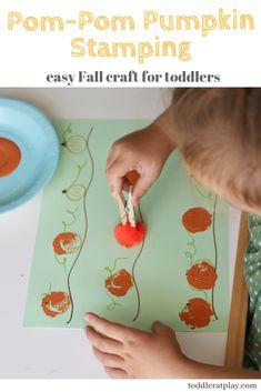 Pom-Pom Pumpkin Stamping (Quick Video tutorial This activity is perfect for toddlers and preschoolers. What's more fun than using a a pom-pom to paint! Fall Preschool Activities, Preschool Art, Toddler Preschool, Preschool Fall Crafts, Halloween Activities For Toddlers, Preschool Halloween, Preschool Projects, Toddler Halloween, Art Activities