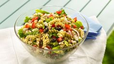Greek pasta salad ready in 30 minutes! Betty Crocker® Suddenly Salad® pasta salad mix and veggies come together in this delicious dinner recipe.